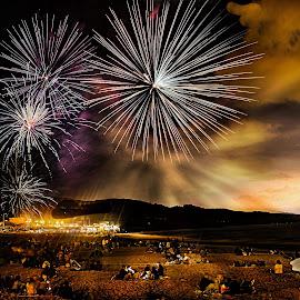 Fireworks by Stefania Loriga - Abstract Fire & Fireworks ( sardinia, fireworks, night, beach, light )