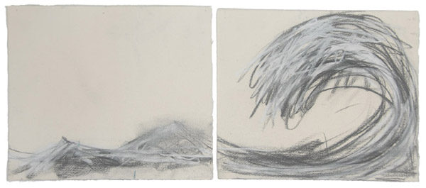 Wave Diptych #1<br> Pastel, pencil on paper <br> 8 x 19.5 in