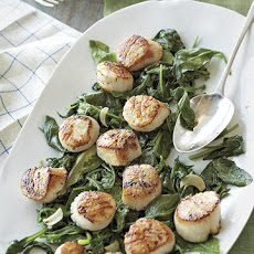 Scallops with Wilted Spinach and Arugula