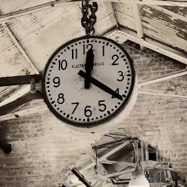 What time is it? by Elizabeth Mundy - City,  Street & Park  Markets & Shops ( lights, ceiling, big apple. clocks, new york, new york city, chelsea market )