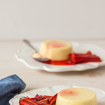 Vanilla Panna Cotta with Elderflower Roasted Rhubarb