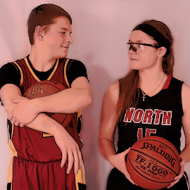 Sibling Basketball by Dawn Moder - Sports & Fitness Basketball ( sister, ball, uniform, baskertball, sport, brother )