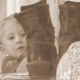 wishin' to grow into daddy's boots by Cee Rivera - Babies & Children Toddlers ( toddler, little boys )