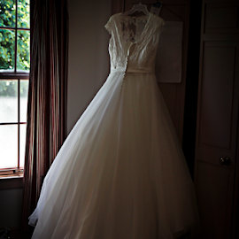 Waiting  by Susan Farris - Wedding Getting Ready ( hanging, window, clothes, waiting, wedding, dress, door, gown, artistic, object, Wedding, Weddings, Marriage )