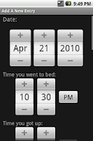 Screenshot of My Sleep Diary BETA