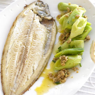 Dover Sole With Buttered Leeks & Shrimps
