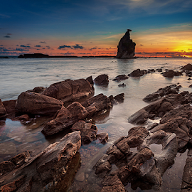 Tanjung Layar by Rio Tanusudiro - Landscapes Beaches ( coral, colors, sunset, sawarna, rock, beach )