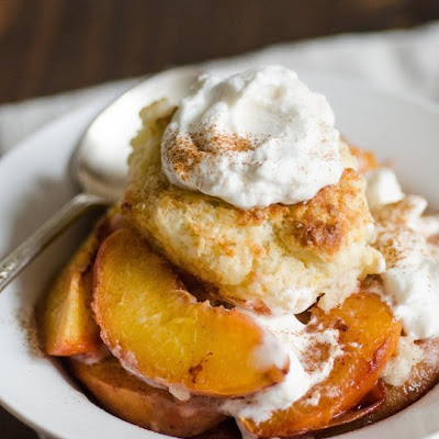 Sweet Biscuits with Roasted Peaches