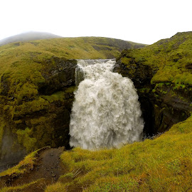 Large waterfall in Iceland hiking near Skogafoss by Tyrell Heaton - Instagram & Mobile Other ( iceland, gopro, large waterfall )