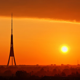 A new day by Nadezda Tarasova - Landscapes Sunsets & Sunrises ( tower, structure, sunrise, morning, city )