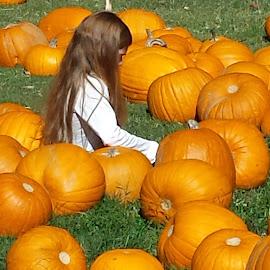 Waiting For The Great Pumpkin by Anne Johnson - City,  Street & Park  Street Scenes ( child, pumpkin patch, girl, pumpkin, halloween )