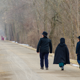 Long Walk Home by Donna Nicklas - People Street & Candids ( amish, walking, attire, street, trail, children, candid, bridge, woods, culture )