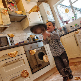 Pancake Day by Dave Flynn - People Family ( shrove tuesday, mess, fun, egg, pan, pancake, child, pancake day, throw, flour, milk, pancakes, toss, fry, flip )