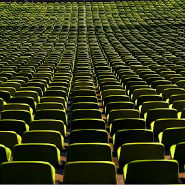 Where Is Your Seat? by Marco Bertamé - Artistic Objects Furniture ( munich, tribune, green, shadow, stadium, bayern, germany, sunshine, seats, shade, light, olympia, , relax, tranquil, relaxing, tranquility, mood factory, color, lighting, moods, colorful, bulbs, mood-lites )
