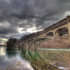 Lake Ontelaunee Bridge by Paul Brady - Buildings & Architecture Bridges & Suspended Structures ( hdr, lake ontelaunee, lake, pennsylvania, bridge, landscape )