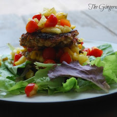 Lentil Barley Burgers with Firey Fruit Salsa
