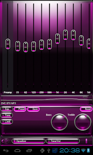 Poweramp skin pink glass - screenshot