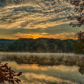 Autumn Sunrise Reflection by Martin Belan - Landscapes Sunsets & Sunrises ( hdr, fall, lakes, sunrise, , golden hour, sunset )