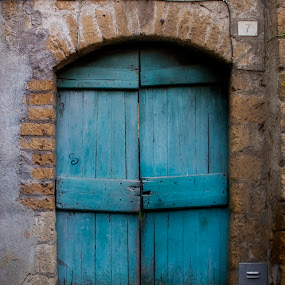 Blue Door by Lori White - Buildings & Architecture Other Exteriors ( rome, brick, door, blue door, city )