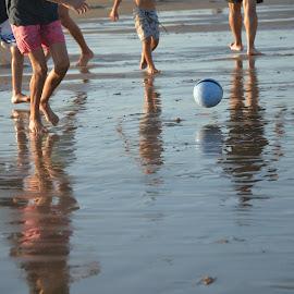 beach soccer by María Quappe - Sports & Fitness Soccer/Association football ( sand, ball, boys, sea, beach, soccer )