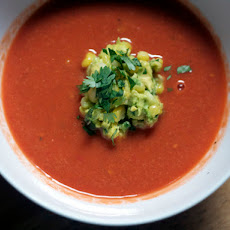 Fresh Tomato Soup with Roasted Corn Guacamole