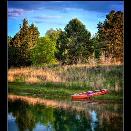 Journey's End by Kerri Garrison - Transportation Boats ( canoe, summer, trees, lake, boat )