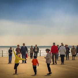 The joy of childhood by Adrian Ioan Ciulea - People Family ( joy, children, happiness, seascape, dance )