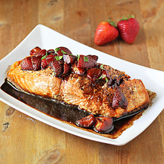 Grilled Salmon with a Strawberry Balsamic Reduction