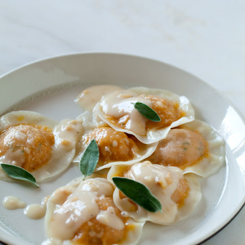 Kabocha Ravioli with a Toasted Hazelnut Cream Sauce