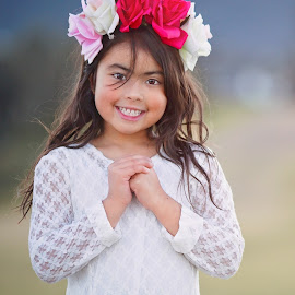 As a flower by Helena Lindgren - Babies & Children Child Portraits ( beautiful girl flower sunset breeze )