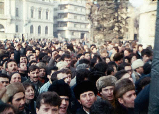 Crowd chanting against Ceaușescu