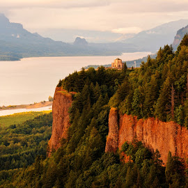 Columgia Gorge by Sandra Maldonado - Landscapes Mountains & Hills ( columbia gorge, columbia river, sunset, woman's forum )