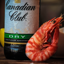 prawn and whisky by Whittney Maree - Food & Drink Alcohol & Drinks ( food, shrimp, alcohol, drink, prawn, canadianclub, eat )