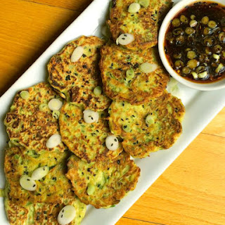 Zucchini Scallion Pancakes with Sweet Soy Dipping Sauce