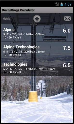 Ski Din Settings Calculator