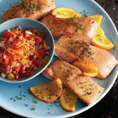 Orange Salmon with Apricot Horseradish Salsa