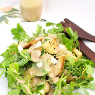 Warm Potato + Pea Tendril Salad with Maple Tahini Dressing