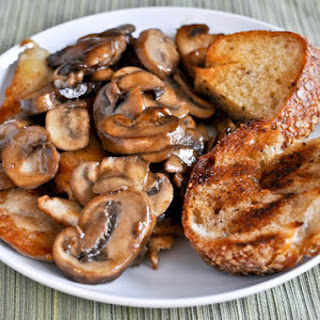 Caramelized Chicken with Mushroom Sauce and Grilled Herb Bread