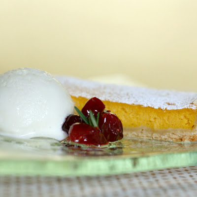 Butternut Squash-Cointreau Tart with Rosemary Gelato and Cranberry Compote Orange Blossom Honey Syrup