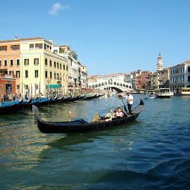 GRANDE CANALE by Wojtylak Maria - City,  Street & Park  Vistas ( water, gondola, venice, buildings, town, bridge, italy, canal )