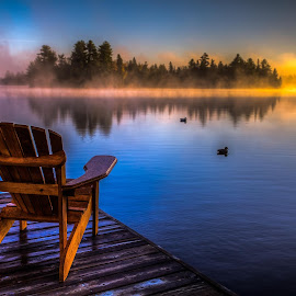 Morning Mist  by Dan Copeland - Landscapes Sunsets & Sunrises ( sunrise cottage chair dock water )