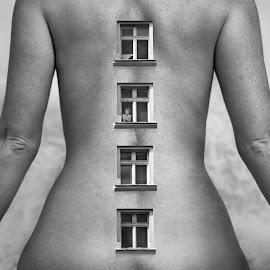 Moral Backbone by Dariusz Klimczak - Digital Art People ( body, monochrome, montage, window, woman, square, surreal, kwadrart )