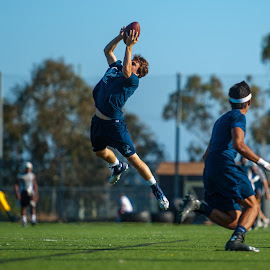 Snaggin' the INT by Kevin Mummau - Sports & Fitness American and Canadian football ( defense, 7 on 7, football, leap, interception )