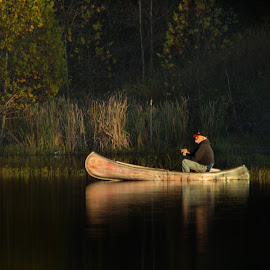 Fishin' Time by Kristi Howard - Novices Only Landscapes ( pan-fishing, canoe, lake, fishing, man )