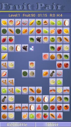 水果配對 多達數十數種水果圖卡配對連連看遊戲