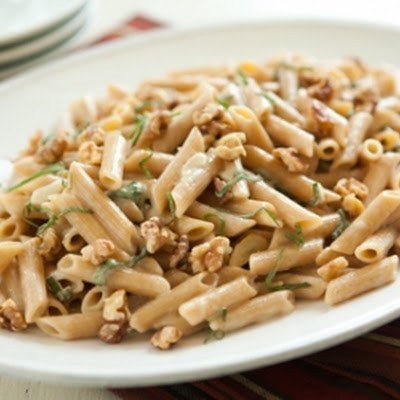 Penne with Le Gruyère, Walnuts and Sage