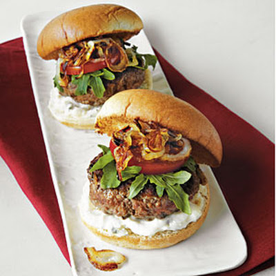 Caramelized Onion–and–Blue Cheese Mini Burgers