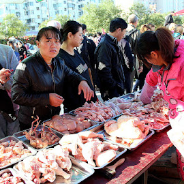 Open air street market in Beijing by Leong Jeam Wong - City,  Street & Park  Markets & Shops ( market, poultry, fish, food, seafood, vendor, ingredient, customer, vegetable, snack, people, pancake )
