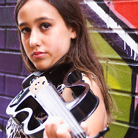 Musician on the hunt by Tamara Jacobs - People Musicians & Entertainers ( music, girl, violin, electric, graffiti, street, musician, wall, city, violinist )