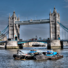 Tower Bridge of London  by Val Brackenridge - Buildings & Architecture Bridges & Suspended Structures ( famous bridges, barges, uk bridge, england, thames, london bridge, london, boats, tower bridge, english rivers, river thames )